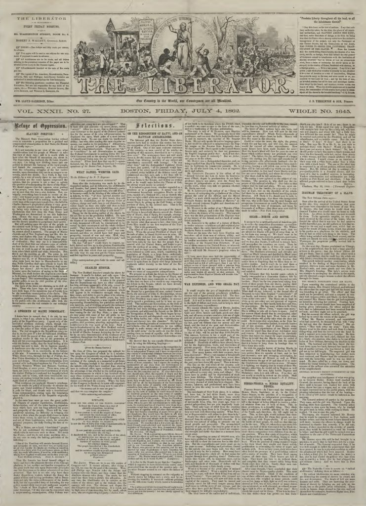 Front page of The Liberator, July 4, 1862